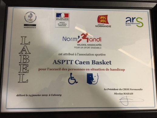 Le Label Norm'Handi pour l'ASPTT Caen