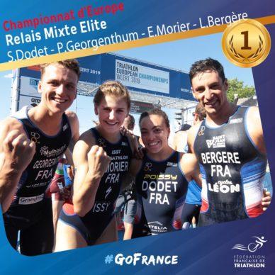 L'équipe de France championne d'europe Élite de relais mixte triathlon