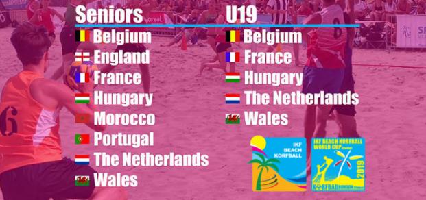 Les participants à la coupe du monde de beach korfball 2019